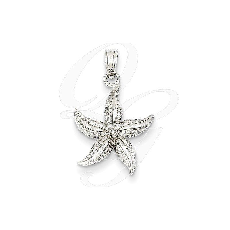 Sealife Jewelry Quality Collection Sealife 14k White Gold Textured Starfish Pendant