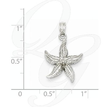 Quality Collection Sealife 14k White Gold Textured Starfish Pendant
