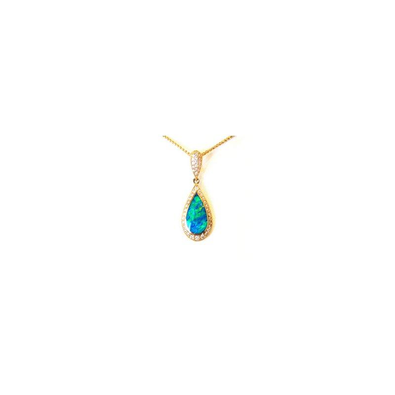 Kabana Jewelry Kabana Australian Opal Inlay & Diamond Pendant