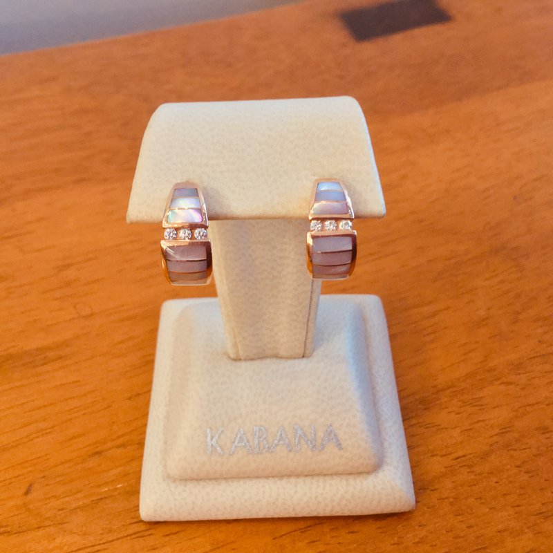 Kabana Jewelry 14k Rose Gold Earrings with Pink Mother of Pearl Inlay and Diamonds