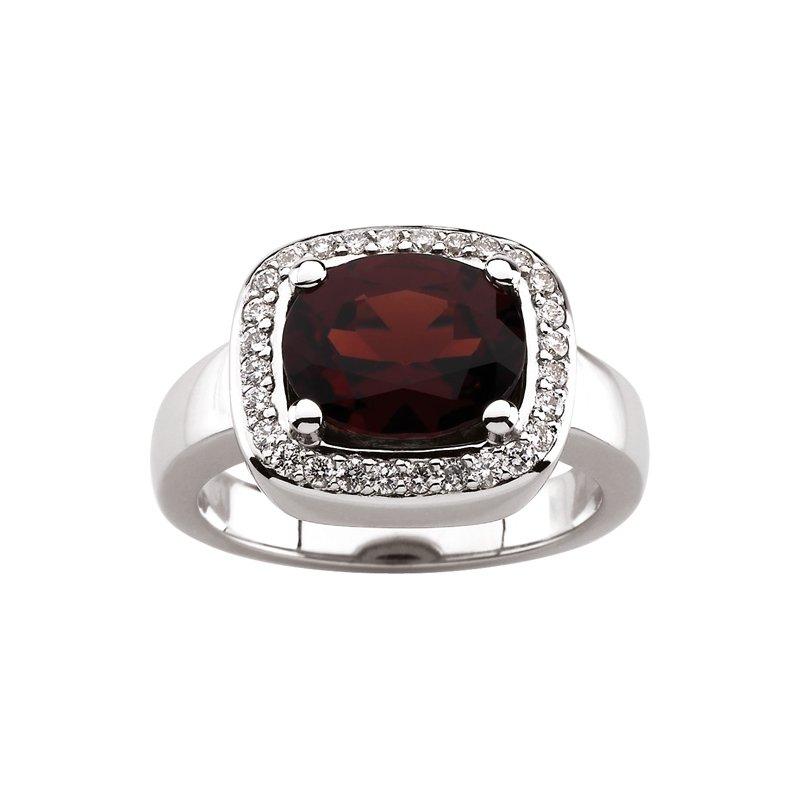 Signature Collection Genuine Mozambique Garnet & Diamond Ring