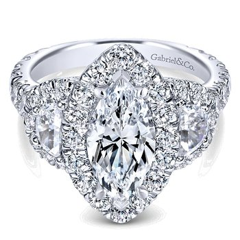Platinum Vintage Style Marquise Halo and Half Moon Diamond Engagement Ring Mounting from the Amavida Collection by Gabriel NY