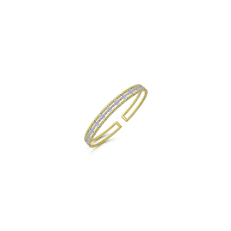 Signature Collection Gabriel NY 14k Yellow Gold Flexible Bujukan Bangle Bracelet with Inner Diamond Channel