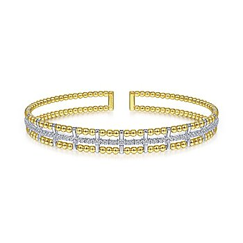 Gabriel NY 14k Yellow Gold Flexible Bujukan Bangle Bracelet with Inner Diamond Channel