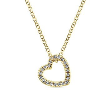 14k Yellow Gold Eternal Heart Diamond Necklace by Gabriel NY - Style #NK5451Y
