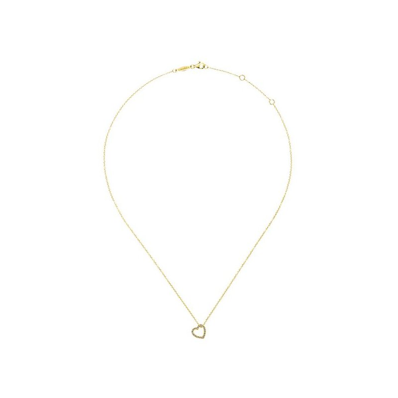 Signature Collection 14k Yellow Gold Eternal Heart Diamond Necklace by Gabriel NY - Style #NK5451Y