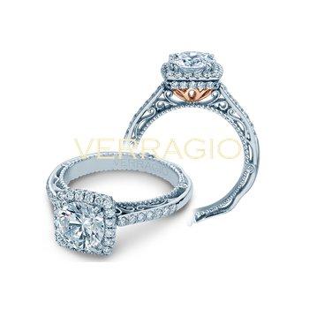 Verragio Venetian 5053 CU-4 - 18k White and Rose Gold Cushion Halo Diamond Engagement Ring
