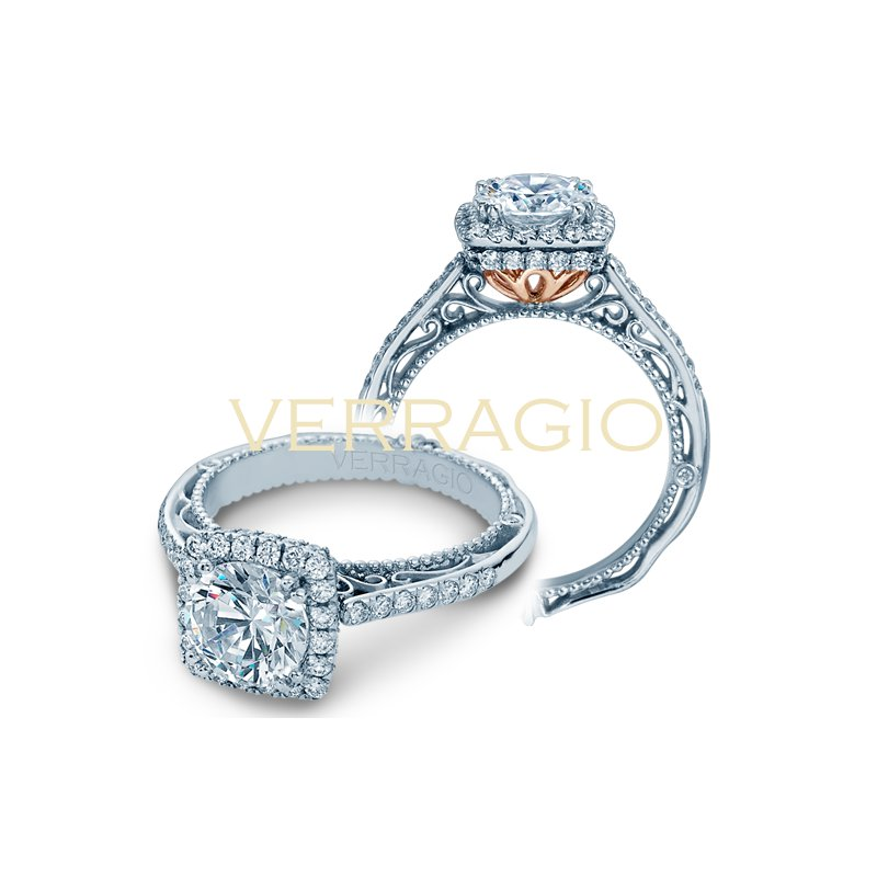 Verragio Verragio Venetian 5053 CU-4 - 18k White and Rose Gold Cushion Halo Diamond Engagement Ring