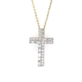 14k Yellow Gold Baguette and Round Diamond Cross Pendant