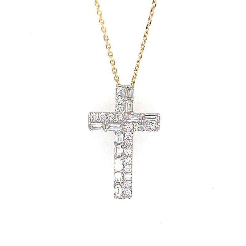 Crosses, Religious & Symbolic Jewelry 14k Yellow Gold Baguette and Round Diamond Cross Pendant