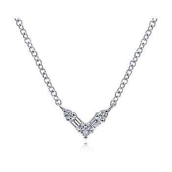 14k White Gold Diamond V Necklace by Gabriel NY