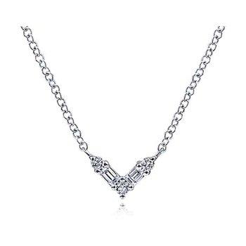 14k White Gold Diamond V Necklace by Gabriel NY