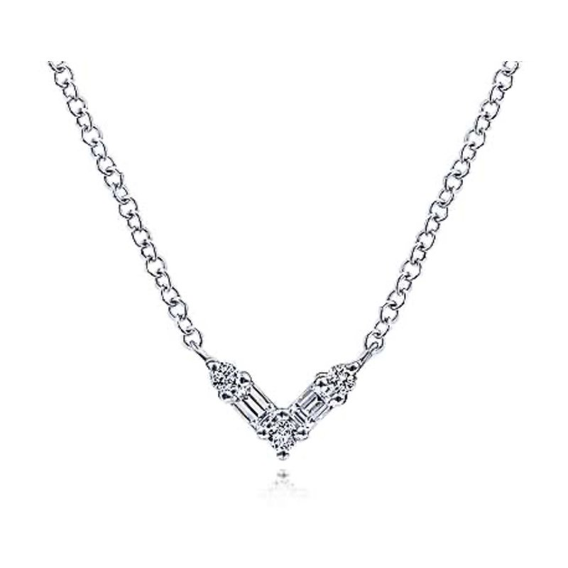 Signature Collection 14k White Gold Diamond V Necklace by Gabriel NY