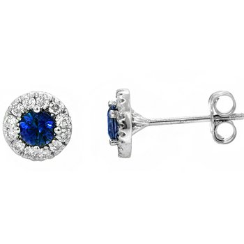 14k White Gold Halo Sapphire & Diamond Stud Earrings - 40766