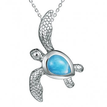 Alamea Sterling Silver Dolphin Pendant with Larimar