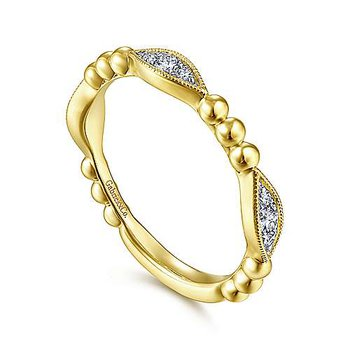 14k Yellow Gold Beaded Diamond Stack Ring by Gabriel NY