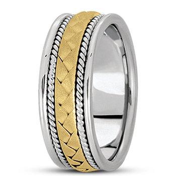 Unique Settings HM104 - 14k White Gold Handmade Handwoven 8mm Men's Wedding Band