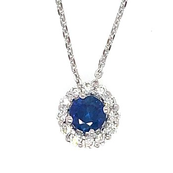 14k White Gold Halo Sapphire & Diamond Pendant - #41358