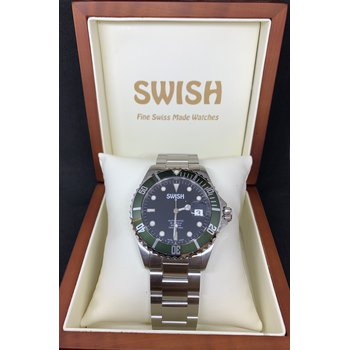 SWISH Swiss Made Rotating Green Bezel Stainless Steel Automatic Watch - Style #SW103