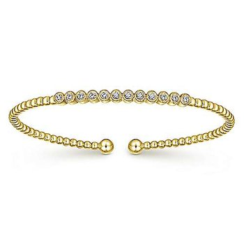 14k Yellow Gold Flex Diamond Bangle Bracelet by Gabriel NY
