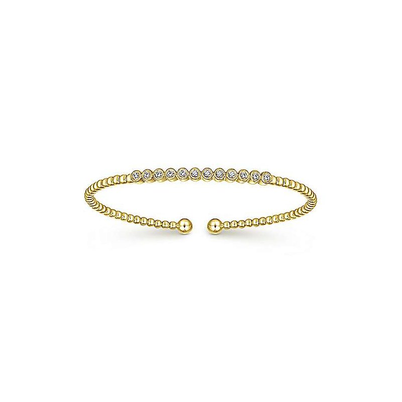 Signature Collection 14k Yellow Gold Flex Diamond Bangle Bracelet by Gabriel NY