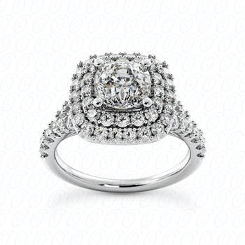 Cushion Cut Diamond Double Halo Split Shank Engagement Ring