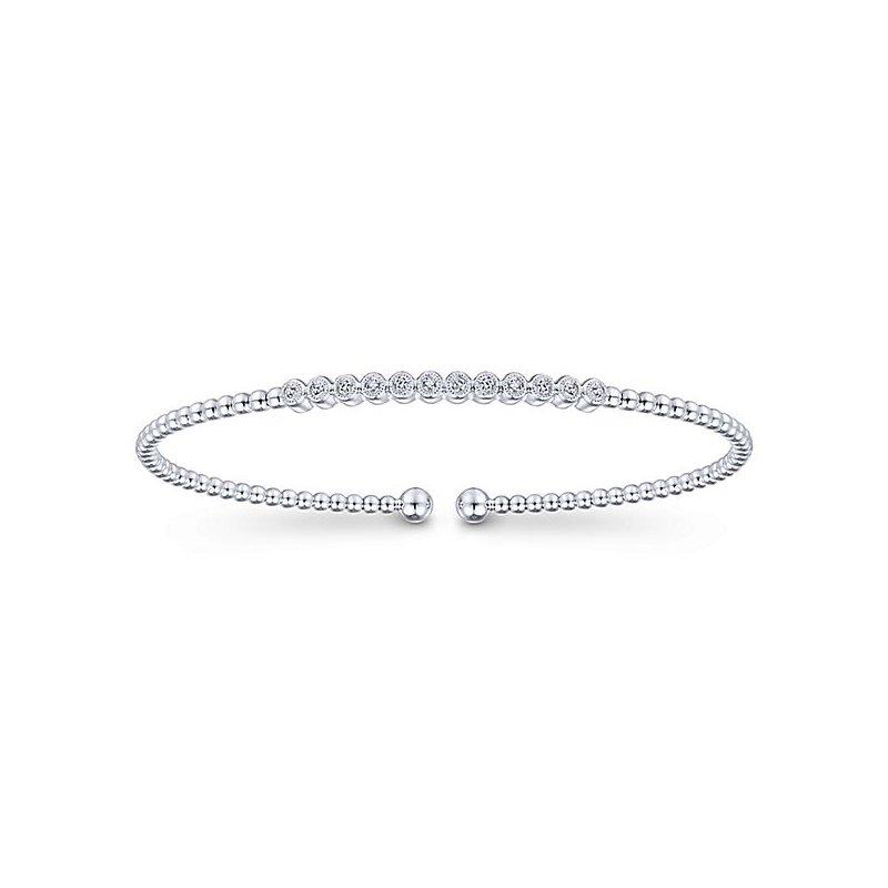 Signature Collection 14k White Gold Bujukan Diamond Bangle Bracelet by Gabriel NY