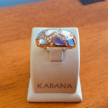 Kabana 14k Rose Gold Ring with Pink Mother of Pearl Inlay and Diamond - #34483