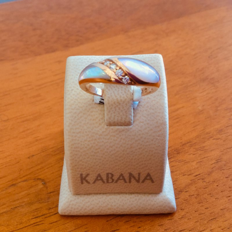 Kabana Jewelry Kabana 14k Rose Gold Ring with Pink Mother of Pearl Inlay and channel set Diamonds - #34589