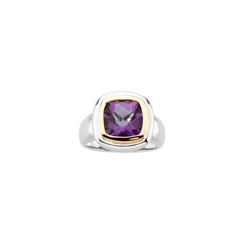 Signature Collection Genuine Checkerboard Amethyst Ring