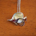 Kovel Sealife Sterling Silver and 18k Gold Plated Reef Fish with Golden Mother of Pearl