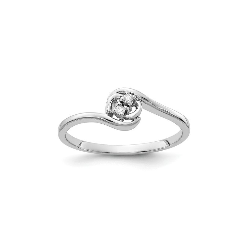 Signature Collection From the Promise Ring Collection 14k White Gold delicate Bypass Diamond Ring