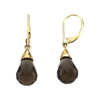 Genuine Checkerboard Smoky Quartz Briolette Earrings