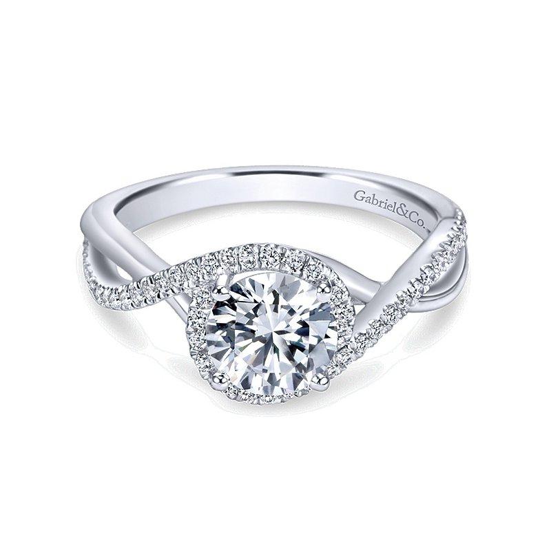 Gabriel NY 14k White Gold Twist Diamond Band Engagement Ring by Gabriel NY