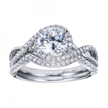 14k White Gold Twist Diamond Band Engagement Ring by Gabriel NY