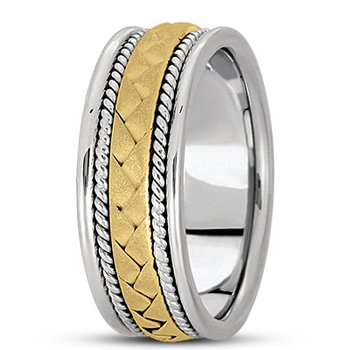 Unique Settings HM104 - W - Y - 14k White and Yellow Gold Handmade Handwoven 8mm Men's Wedding Band