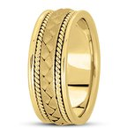 Unique Settings Unique Settings HM104 - W - Y - 14k White and Yellow Gold Handmade Handwoven 8mm Men's Wedding Band
