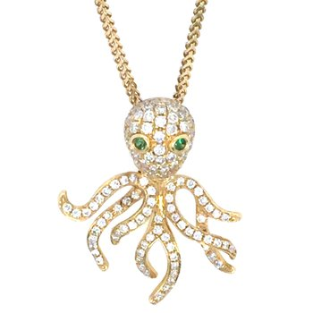 18k Yellow Gold Diamond Octopus Pendant