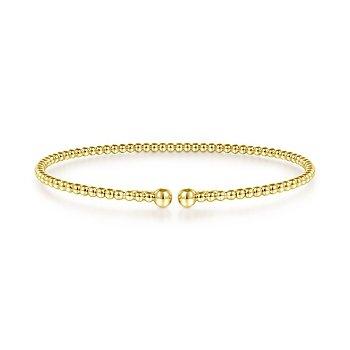 "Gabriel NY 14k Yellow Gold 6.5"" Flexible Beaded Bangle Bracelet"