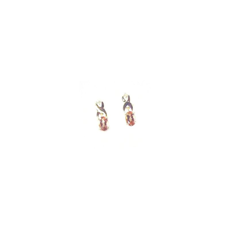 Signature Collection Genuine Imperial Topaz & Diamond Earrings in 14k Yellow Gold