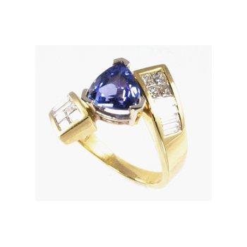 Genuine Tanzanite and Diamond Ring in 14k Yellow Gold