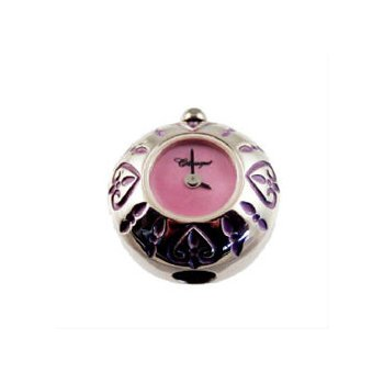 Sterling Silver Bead Watch with Pink Enamel Hearts and Pink Mother of Pearl