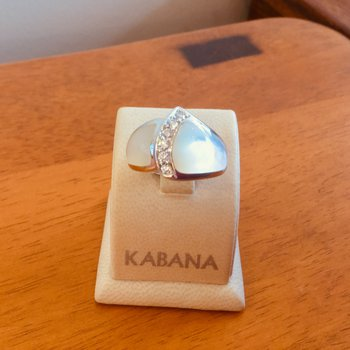 Kabana White Mother of Pearl Inlay and Diamond Ring in 14k White Gold