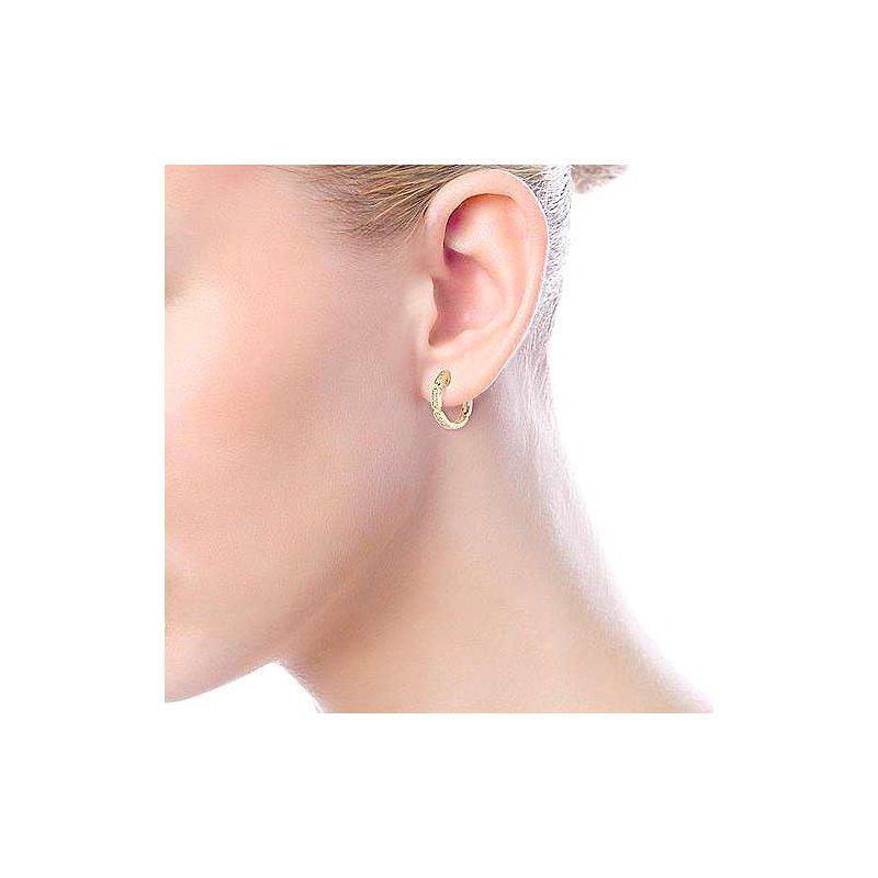 Signature Collection 14k Yellow Gold Segmented Diamond Huggie Earrings