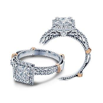 Verragio Parisian-123P - 14k White and Rose Gold Diamond Halo Engagement Ring by Verragio