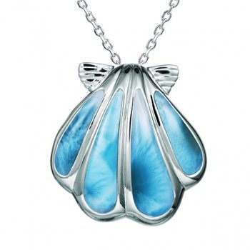 Alamea Sterling Silver Shell Pendant with Larimar