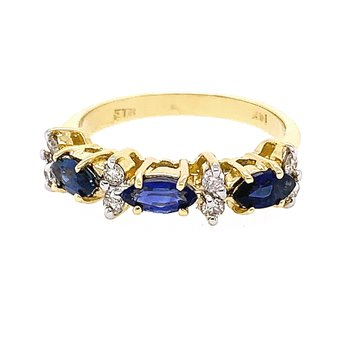 14k Yellow Gold Marquise Sapphire & Diamond Ring