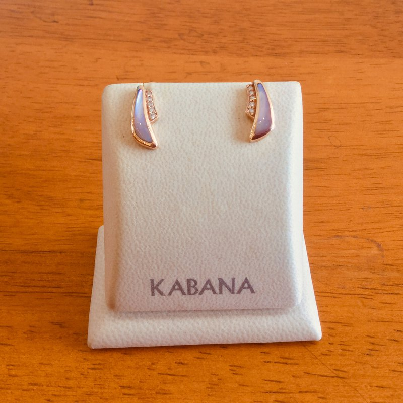 Kabana Jewelry 14k Rose Gold Earrings by Kabana with Pink Mother of Pearl and Diamonds