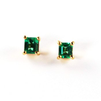18k Yellow Gold Square Cut Genuine Colombian Emerald Earrings - #4987