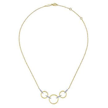 14k Yellow & White Gold Triple Diamond Loop Necklace by Gabriel NY